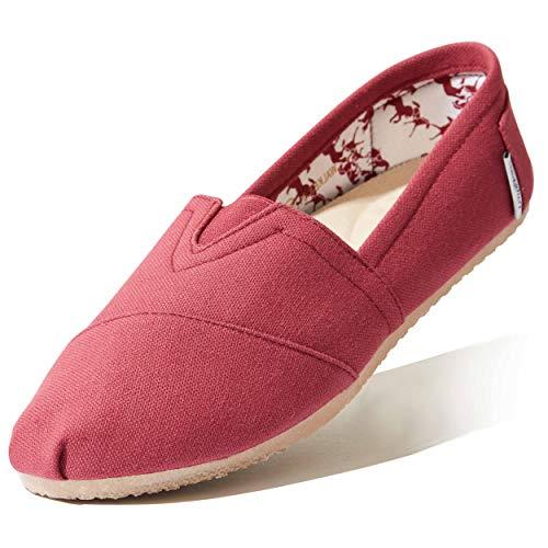 DailyShoes Women's Slip On Flats Massage Surface Flat Shoe Loafer Boat Classic Shoes Walker-01 Mahogany Linen 7.5