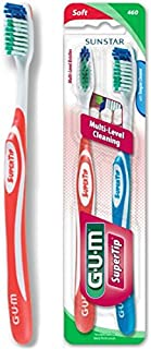 GUM Super Tip Toothbrush, Full Soft Bristles, Twin Pack