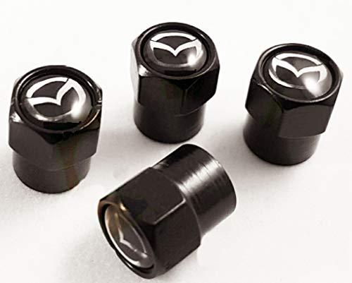 RacePace Ventil-Staubkappen, Schwarz, 4 Stück, CX-3 CX-5 MX-5 Mazda 2 Mazda 3 Mazda 6