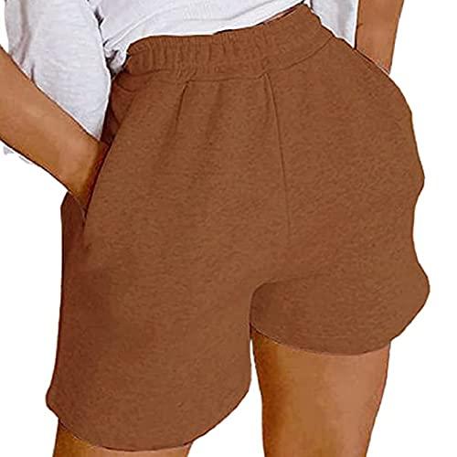 Glosun Pantalones cortos atléticos de cintura alta para mujer, pantalones cortos de yoga sueltos con bolsillo de mariposa casual pantalones cortos de sudor