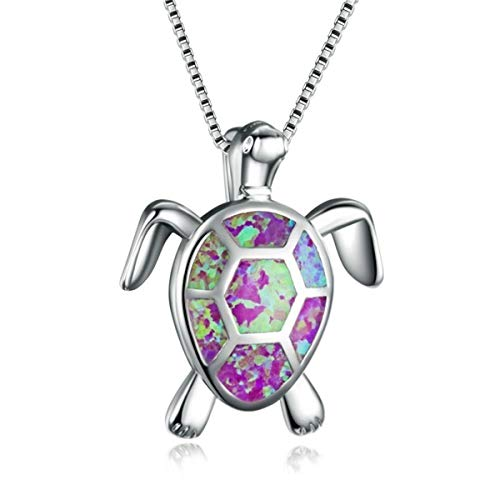 Beiswe Cute Turtle Pendant Necklace Lovely Animals White Fire Opal 925 Sterling Silver Necklace Jewellery Gifts (Purple)