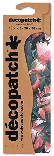 Decopatch Papier No. 757 (grün pink Blumen mit Blätter, 395 x 298 mm) 3er Pack