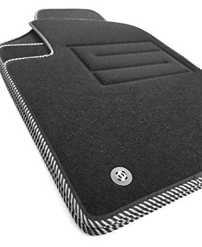 ASC 500 dal 2007 al 2019 tappeti auto tappetini in moquette con bordo bianco-nero, bottoni e battitacco elettrosaldato