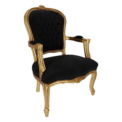 arterameeferro Sillón barroco Luis hoja oro terciopelo negro