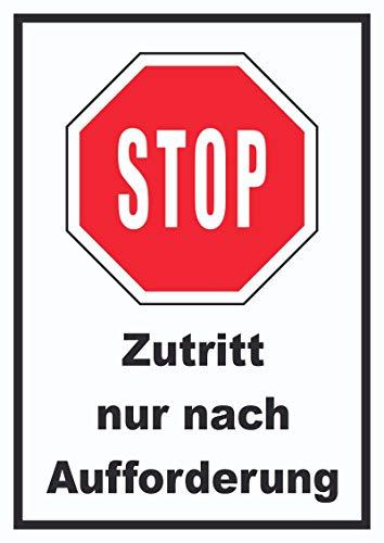 HB-Druck Stop Zutritt nur nach Aufforderung Schild A6 (105x148mm)
