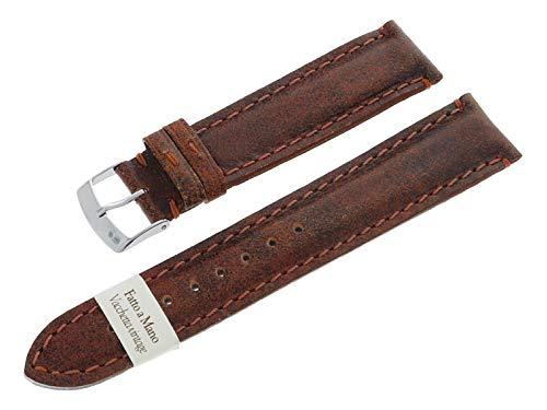 Morellato 20 mm Uhrenarmband Vintage Braun aus Echtleder Edelstahl Dornschließe A01X2915735041CR20