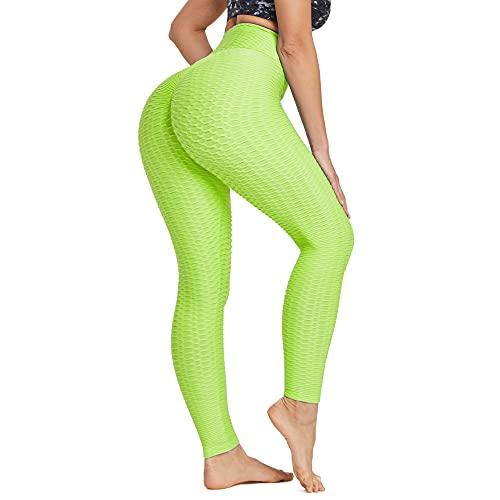 Ogeenier Leggins Anticellulite Snellente Sportivi Donna Push up Leggings Pantaloni Yoga Vita Alta,Giallo,L