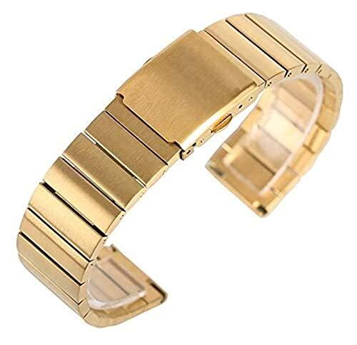 TSYGHP 18/20/22/24 mm Correa de reloj de pulsera de acero inoxidable ajustable Correa de reloj brazalete de metal sólido + 2 barras de resorte correa de reloj oro rosa (color: dorado, tamaño: 18 mm)