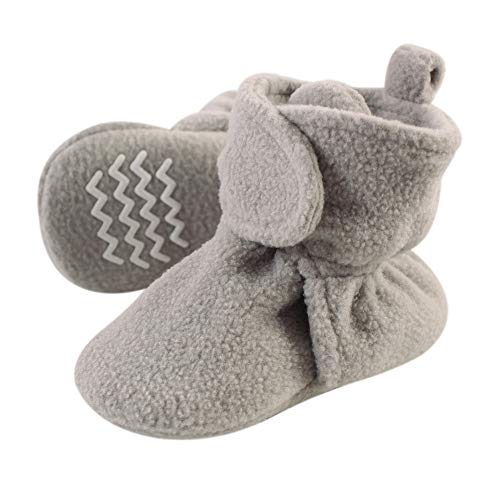 Hudson Baby Baby Girls' Unisex Cozy Fleece Booties with Non Skid Bottom, Winter Accessory Set, Neutral Gray, 6-12 Months