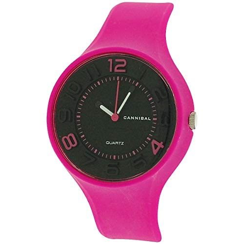 Cannibal Active Girls Black 3D Number Dial & Pink Rubber Strap Watch CL229-14