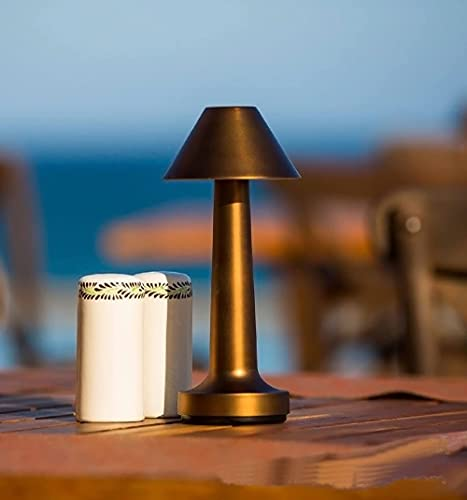 Pkfinrd Lámpara de Mesa de Barra de Escritorio Luz Nocturna Recargable Sensor táctil inalámbrico para Restaurante Decoración de la Sala de café 20h Vida de la batería (Color : Gold)