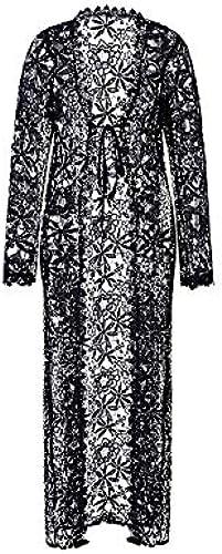 MINGFENG Maillot de Bain 2 PCS Lace Crochet HolFaible plage Robe Femmes Robe De Bikini Cover Up, Taille  S (Noir)