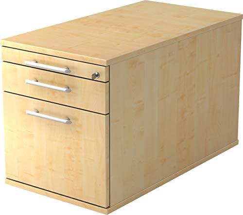 bümö® Rollcontainer mit 3 Schüben & Schloss | Bürocontainer mit Hängeregistratur aus Holz abschließbar | Container für Büro | in 5 Dekoren (Ahorn)