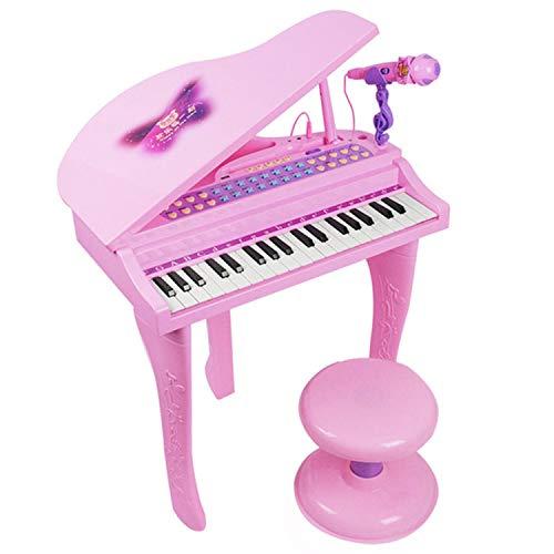 AAFF Multifunktionales Kid Piano, Simulation Elektronische Elektronische Orgel Mikrofon Hocker, Lernspielzeug Berührungsempfindliche Piano Tasten Klaviertastatur Kinder Keyboard,B