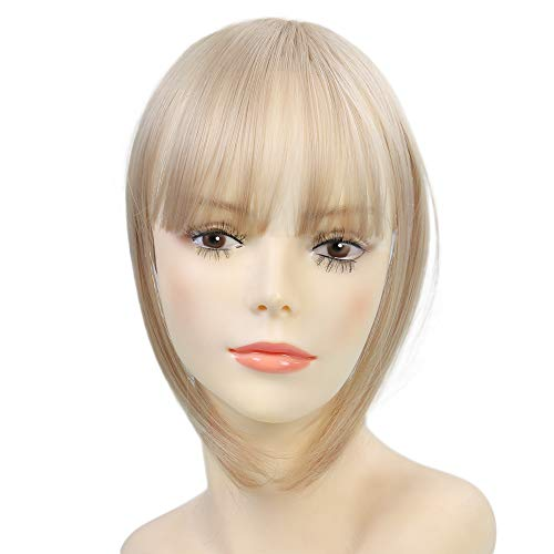 Clip in Hair Bangs Fringe Bangs Hair Extensions Straight Clip on Bangs with Temple Hairpieces Accessories for Women (Natural Blonde Mix Bleach Blonde)