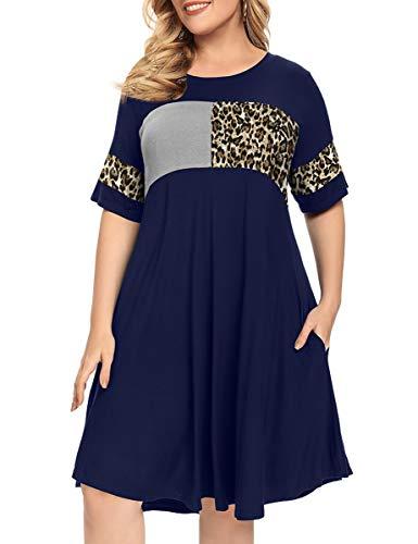 MONNURO Short Sleeve Women's Plus Size Shirt Dress Color Block Leopard Print Casual Loose Swing Aline Tunic Dresses with Pockets(Navy Blue,4X)