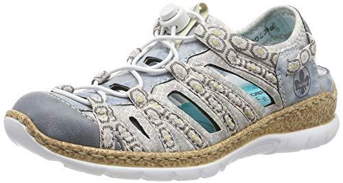 Rieker Damen N42P8-12 Sneaker, Blau (Adria/Heaven/Silverflower/Rosa 12), 38 EU