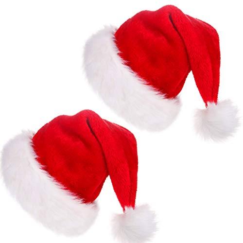 CUSFULL Gorro de Papá Noel de Felpa, Gorro Navideño y Sombrero Rojo de Santa Claus, Gorro de Navidad Suave y...