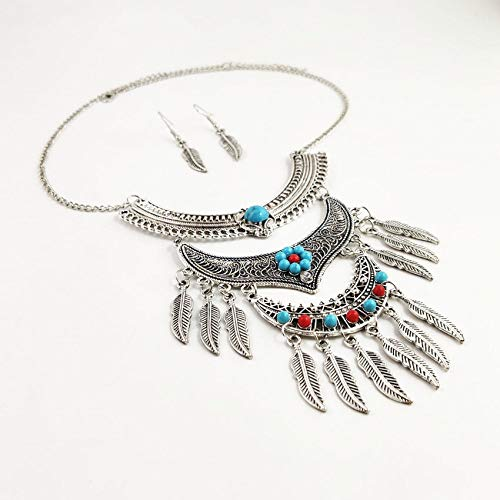 Pendientes De Collar Conjuntos Joyas,Vintage Bohemia India Mujeres Niñas Brillant Delicado Plata...