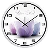 HIDFQY Reloj de Pared silencioso Anillo Lotus 14 Pulgadas B01W maquinaria de Cuarzo Decorativo para el hogar/la Cocina/la Oficina/la Escuela