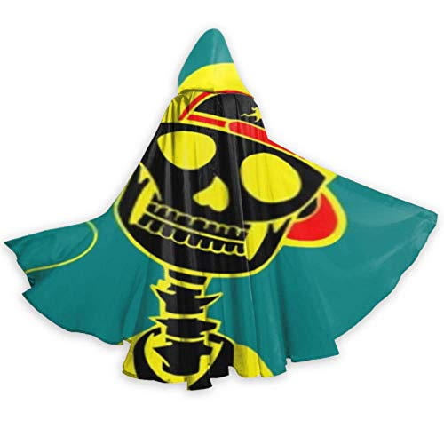 SUUJ Unisex Hooded Cloak Long Vector Zeichnung Schädel Kappe Luftballon Kap für Weihnachten Halloween Cosplay Kostüme