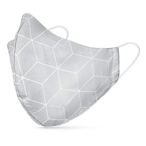tanzmuster ® Behelfsmaske waschbar für Erwachsene - 100{074ca1919d361ddb1f407bf40ce18e2b23fcf73974062b1593ccfa635567bf87} Baumwolle - Nasenbügel und Filtertasche - Mund und Nasenschutz 2-lagig - OEKO-TEX Standard 100 Rauten hellgrau Größe M Erwachsene