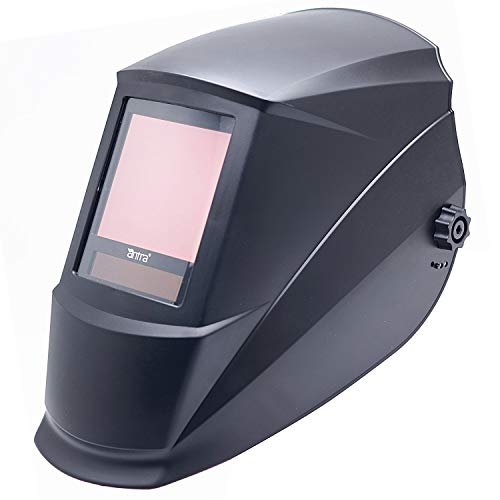 "Antra Welding Helmet Auto Darkening A77D, Viewing Size 3.86X3.23"", extended shade range 4/5-9/9-14 Great for TIG, MIG/MAG, MMA, Plasma, Grinding, Solar-Lithium Dual Power, 6+1 Extra lens covers …"