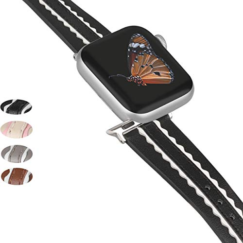 Wearlizer Genuine Leather Bands Compatible for Apple Watch 38mm 40mm, Soft Two Stripe with Wide Women Wristband Strap Replacement and Silver Adapter for iWatch Series 6 5 4 3 2 1(Black and White)