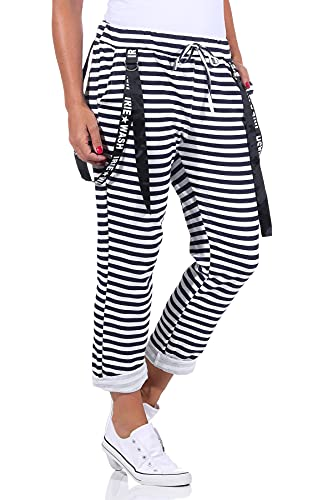 Damen Jogginhose im Boyfriend-Style Sweatpants für Freizeit Sport und Fitness 108 (36-40, Modell 2-1)