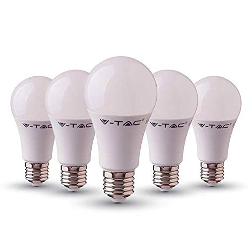 Bombilla de LED Termoplástica A58 Clásica V-TAC 9W (60W) Ahorradora de Energía con chip Samsung E27 ES (Rosca Edison) 3000 Kelvin Blanco Cálido No Regulable Paquete de 5