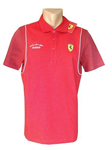 Ferrari/Fórmula 1–Mens Santander Alonso Polo Camiseta–Rojo, hombre, rojo, large
