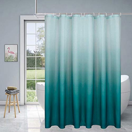 Fabric Ombre Shower Curtain for Bathroom - Waterproof Bathroom Curtain with 12 Hooks, 70 x 72 Inch Teal