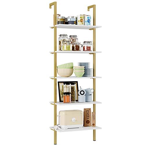Homfa Standregal Leiterregal Wandregal Bücherregal Küchenregal mit 5 Ebenen Blumenregal Pflanzenregal aus Holz Metall Weiß Gold 184.5x60x35cm
