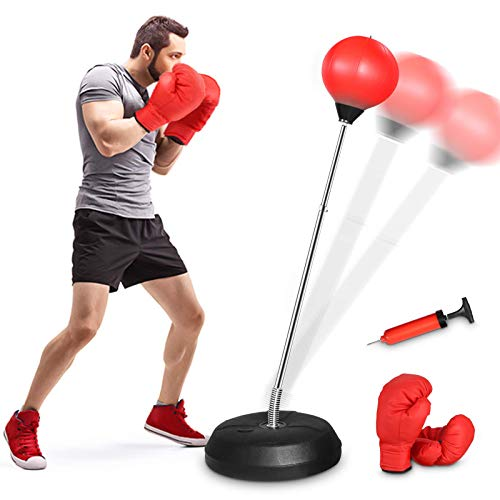 KINGSO Punching Bag for Kid & Adults, Punching Bag with Stand Plus Boxing Gloves, Adjustable Height Speed Bag for Exercise and Fitness Fun for Entire Family