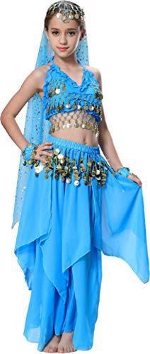 Seawhisper 1001 Nacht Kostüm Mädchen Kinder Bauchtanz Kostüme Bollywood Tanzkostüm Blau 128 34
