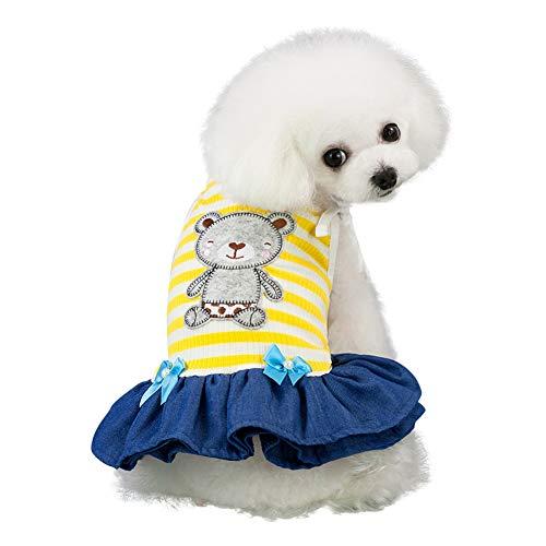 Shiningbaby Abito Estivo Senza Maniche Cane Vestito a Strisce Orso Gonna Stampata Costumi Cucciolo Moda per Animale Domestico Medio Piccolo Grande