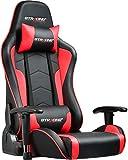 GTRACING ゲーミング座椅子 ゲーミングチェア 180度リクライニング ハイバック 可動肘 ヘッドレスト 肘掛け付き 一年無償部品交換保証 (89-RED)