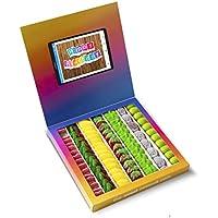 Caja golosinas Instagram 23x23cm con mensaje HAPPY BIRTHDAY, su interior contiene 750g de golosinas Fruit