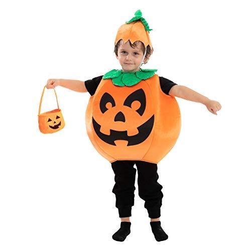 Disfraz de calabaza infantil con una cesta de calabaza y un sombrero para Halloween fiesta de vestir