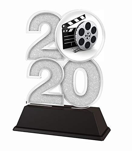 Trophy Monster 2020 Trofeo de película y Cine Premio Oro, Plata o Bronce, Hecho de acrílico Impreso, 120 mm, Plata, 120 mm