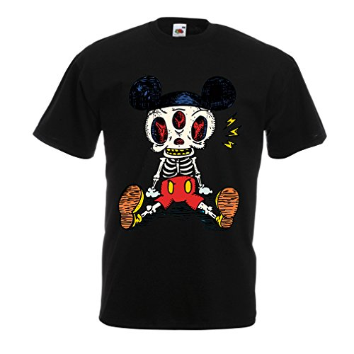 lepni.me Camisetas Hombre Esqueleto de un ratón (Large Negr