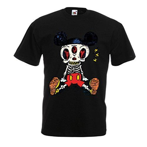 lepni.me Camisetas Hombre Esqueleto de un ratón (XXXX-Large Negro Multicolor)