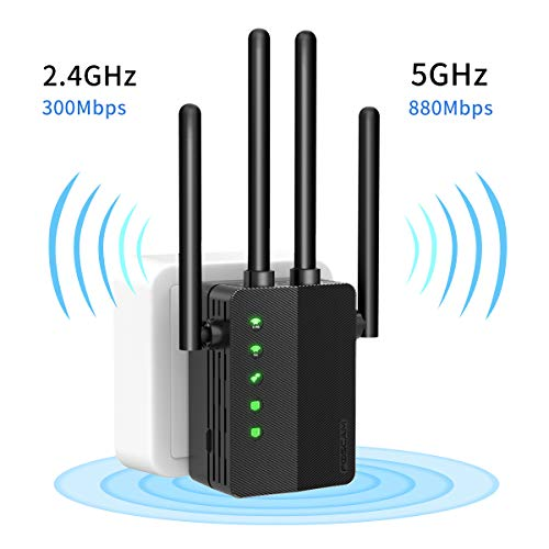 WiFi Range Extender 1200Mbps Signal Booster Repeater, Foscam 2.4G & 5GHz Dual Band Wireless Amplifier with Intelligent Signal Indicator, One Button Setup with Ethernet Port