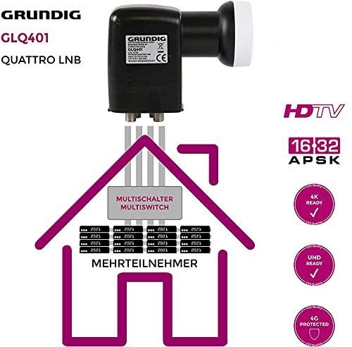GRUNDIG Quattro LNB, LNB für Multischalter, Quadro LNB für Multischalter, Full HD, 4K LNB Quattro - digitales 4fach-LNB für Satellit-Fernsehen