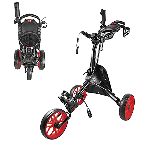 BOBOPRO Carrito de golf plegable ligero de 3 ruedas con soporte de...