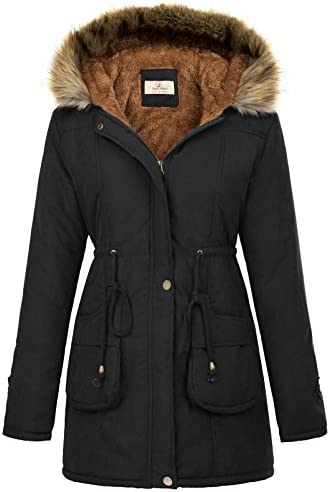 GRACE KARIN Womens Hooded Thicken Fleece Parkas Faux Fur Jackets with Pockets 2XL Black product image