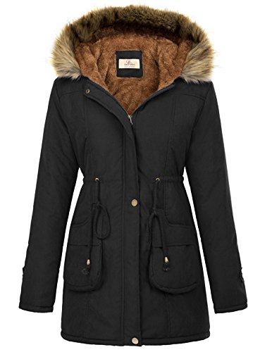 GRACE KARIN Women's Fleece Parkas Anoraks Hooded Military Jacket Coats M Black