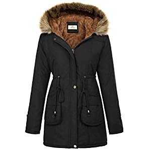 GRACE KARIN Womens Hooded Warm Winter Thicken Fleece Lined Parkas Long Coats