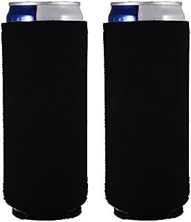 Blank Neoprene Collapsible Slim 12 oz Can Coolie (2, Black)