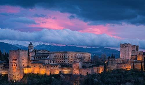 OKOUNOKO Rompecabezas De 1000 Piezas para Adultos Alhambra España Montaje De Madera Decoración para El Juego De Juguetes para El Hogar Explora La Creatividad Y La Resolución De Problemas